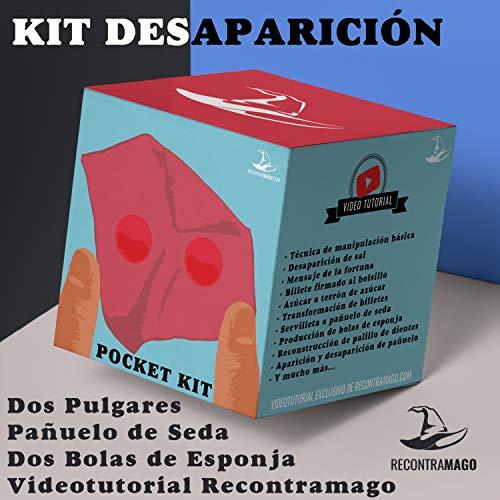 RecontraMago Kit de DesAparición - Incluye Pañuelo de Seda - Bolas de Esponja - Dos Falsos Pulgares y Video Tutorial de Desaparición Técnicas y Rutinas Magia Profesional para Niños y Adultos