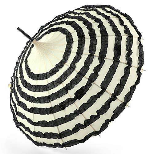 Coucoland Pagode Regenschirm Damen Sonnenschirm Retro-Stil Brautschirm Hochzeitsschirm Fasching Kostüm Accessoires (Schwarz Aprikose)