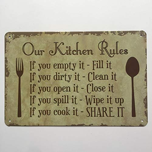 Ubranded Tin Sign Vintage Metal Toilet Tool Kitchen Rules Cocktail Retro Poster Wall Sticker Home Bar Home Pub Decor Man Cave 20x30cm 6