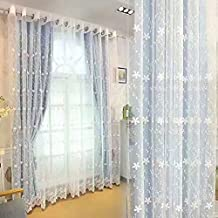 Blackout Double Layer Flower Embroidered Curtains for Girls Bedroom, Voile Mix Match Window Treatment Grommet Room Darkening Sheer Drapes for Living Room 84 Inches Length, 1 Panel 42 x 84 Blue