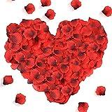 Punvot Pétalos de Rosa Artificiales, 3000 Piezas Pétalos de Rosa Artificiales Rojo Rosas Flores Confeti San Valentín Decoración Pétalos para Bodas Romántica Proponer Fiestas Ambiente Sorpresa Regalo