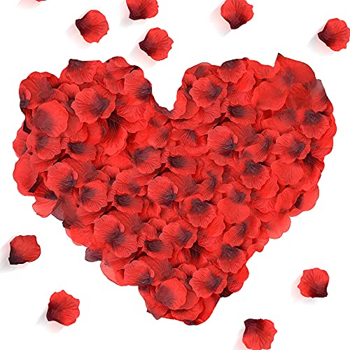 Rosenblätter, 3000 Stück Rosenblüten Rote Rosenblätter Romantische Deko Atmosphäre Rosen Blätter Blüten Kunstblumen Seidenblumen für Hochzeit, Valentinstag, Jubiläum, Datierung, Geburtstag, Party
