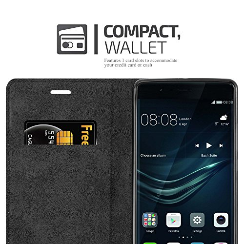 Cadorabo Hülle für Huawei P9 Plus - Hülle in Nacht SCHWARZ – Handyhülle mit Magnetverschluss, Standfunktion und Kartenfach - Case Cover Schutzhülle Etui Tasche Book Klapp Style - 4