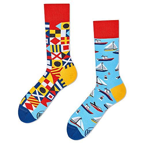 Many Mornings Socken - socks - unisex - Yacht Club - blau gemustert - froginlove (39-42)