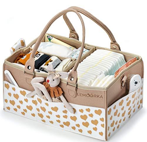 Lemoorka Cesta bebe para el almacenaje de pañales y otros accesorios. Bolso bebe con asas desmontables y 3 compartimentos. 38 cm.Color camel.