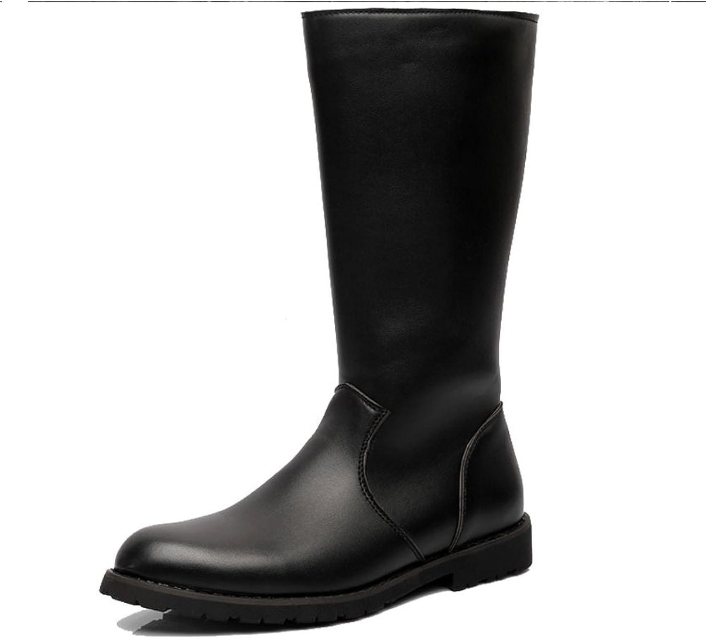 Ruiyue Herrenschuhe Glattleder Upper Side Zipper Zipper Zipper Mid Calf Combat Stiefel für Herren Herren (Farbe   Schwarz, Größe   40 EU)  fddfe1