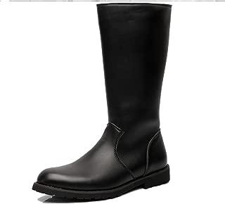 2018 New Arrival Men Boots Men's Shoes Smooth Leather Upper Side Zipper Mid Calf Combat Boots for Gentlemen