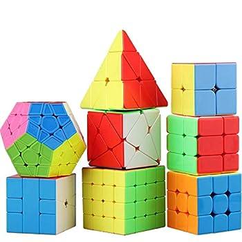 STEAM Life Educational Speed Cube Set 8 Pack Magic Cube   Includes Speed Cubes 3x3 2x2 Pyramid Cube Speed Cube Plus Bonus Puzzle Cube Puzzles Bundle