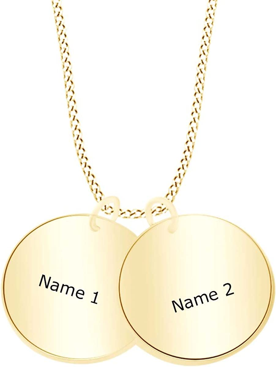 AFFY Personalize Engravable It is very popular Two Initial Necklace in Disc Pendant Portland Mall