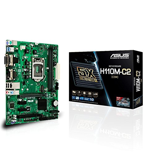 Asus H110M-C2/CSM Scheda Madre Intel H110 Micro ATX, 5x Protection Il, Rivestimento Anti Umidità, Creata per Lavorare 24/7, Nero