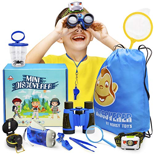 Norsy Toys — Kids Explorer Kit, Camping Gear — Perfect Gift for Boys & Girls age 3 -12 yrs - Kid's Toy Binoculars, Bug Catcher, Flashlight, Magnifying Glass - Outdoor Toys, Learning & Outside Play