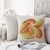 Fangguan decoración Cuadrada, Acuario, Figura de diseño de fantasía Escalas estilizadas Artístico Abstracto Goldfish Decorativo, Naranj,Funda de Almohada Almohada para Coche Almohada para sofá casero