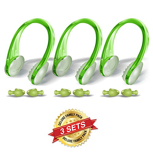 BLUPOND Swimming Nose Clips and Earplugs Mega Set of 3 Family Pack Pro Edition (Green)