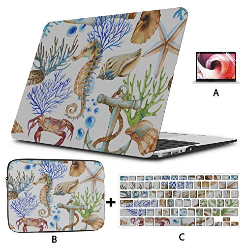 Mac 13 Inch Case Colorful Seahorses Cartoon Laptop Pro Accessories Hard Shell Mac Air 11'/13' Pro 13'/15'/16' With Notebook Sleeve Bag For Macbook 2008-2020 Version