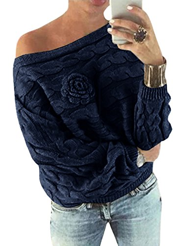 YOINS Donna Maglione Floreale Felpa Spalle Scoperte Pullover Manica Lunga Maglioni Maniche A Pipistrello Tops Casuale Blu Scuro EU44