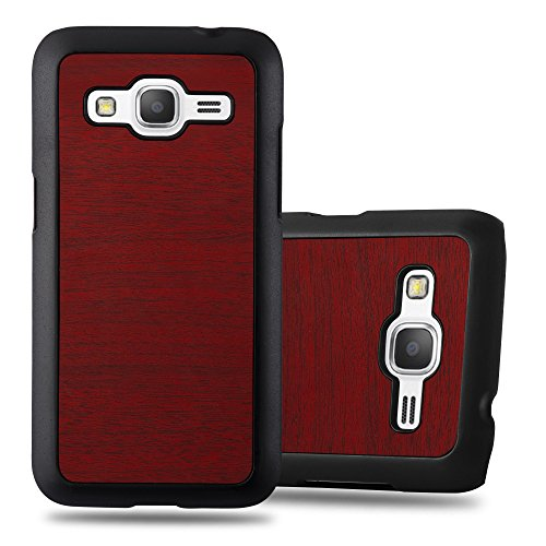Cadorabo Case Compatible with Samsung Galaxy CORE Prime in Woody RED - Shockproof and Scratch Resistent Plastic Hard Cover - Ultra Slim Protective Shell Bumper Back Skin