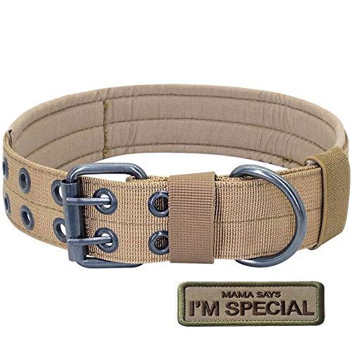 S.Lux Collares de Perro de Nylon, Anti-Desgaste Entrenamiento táctico al Aire Libre Cinturones de Perro de led Collar de Perros Grandes Negro Verde Marrón Collar para tu Perro (Caqui, M)