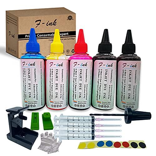 F-ink, 5 bottiglie di inchiostro e strumenti di ricarica compatibili con Canon 545 546/510 511/512 513 / PG-545 CL-546 / PG-510 CL-511 / PG-545XL CL-546XL cartucce d'inchiostro