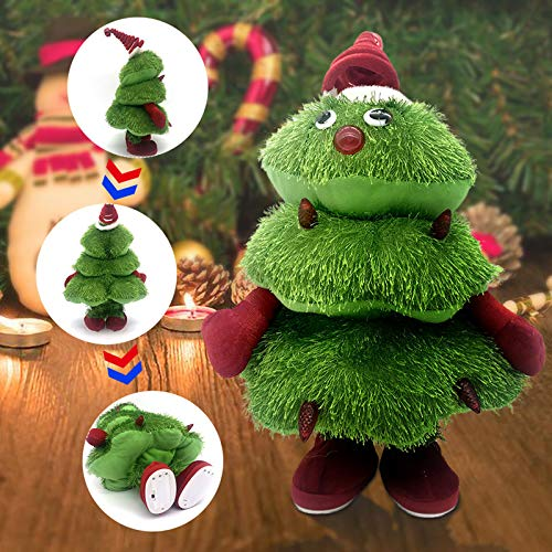 Christmas Tree Electric Singing Dancing Plush Toys Battery Powered Adorable Musical Interactive Glowing Doll Holiday Home Xmas Ornaments Decoration Gifts for Kids
