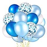 Qpout 50piezas Globos de confeti de 12 pulgadas Azul real Azul claro Azul bebé y blanco Globos de látex Globos de helio Artículos de fiesta para cumpleaños Baby Shower Ocean Sea Shark Party Decoration