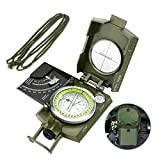 Laelr Lensatic Compass, Multifunctional Military Compass Navigation with Sighting Clinometer, Waterproof and Shockproof