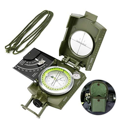 Laelr Kompass Militär Marschkompass, Professioneller Taschenkompass Peilkompass Kompass mit Visierklinometer, wasserdicht und stoßfest mit Tragetasche zum Wandern Camping Klettern