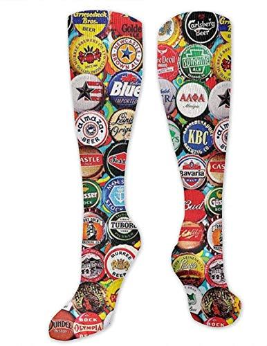 NA Heren & Vrouwen Casual Knie High Tube Sokken Mid-Calf Sokken Kostuum Cosplay Sokken Meisjes Novelty Sokken, Wereld Bier Fles Caps Set