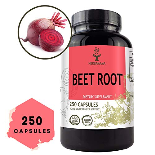 Beet Root 250 Capsules 1200 mg per Serving   Filled with Beet Root Powder   Energy, Stamina, Performance   Anti-Inflammatory   Digestive Function   Immune Booster   Blood Pressure Support   Non-GMO