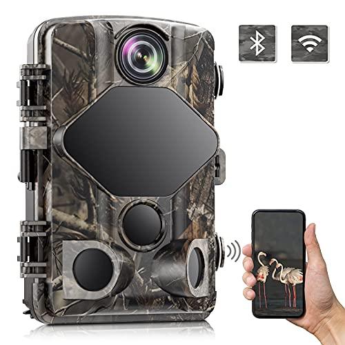 TOGUARD 4K Wildkamera 24MP 2196P Wildtierkamera mit Infrarot Nachtsicht Bewegungsmelder Wlan Bluetooth Wildkamera mit 46 PCS 850nm LEDs 120° Outdoor Wildtierüberwachung Zeitraffer Wasserdicht IP66
