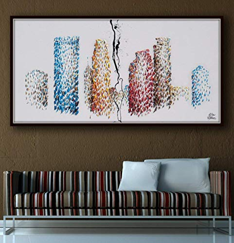Minneapolis skyline Buildings Painting 67' Skyline cityscape original oil painting on canvas, thick layers, Large canvas, By Koby Feldmos