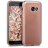 kwmobile Funda Compatible con Samsung Galaxy A3 (2017) - Carcasa móvil de Silicona - Protector Trasero en Oro Rosa Metalizado