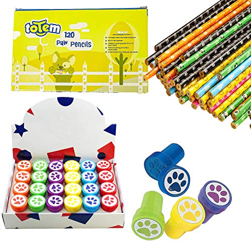 Totem World 24 Novelty Paw Pencils 24 Paw Stamper - Durable Wood and Lead - Awesome Back-To-School Presents, Classroom Rewards, and Kids Party Favors - Won't Snap or Peel - Popular With Kids