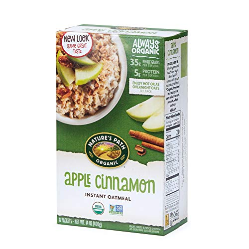 Nature Path Apple Cinnamon Instant Oatmeal Healthy Organic 8 Pouches per Box 14 Ounces Pack of 6