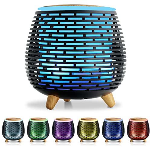 SALKING Humidificador Electrico,Humidificador Aceites Esenciales con LED de 7 colores,Difusor de Aromaterapia,Silencio,2 Modos de Pulverización, Apagado Automático,Dormitorio, Decoración de Interiores