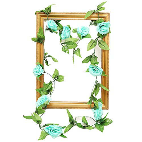 1Pc Artificial Rose Flower Vine Wreath Garland Garden DIY Party Home Christmas Wedding Decor Lake Blue