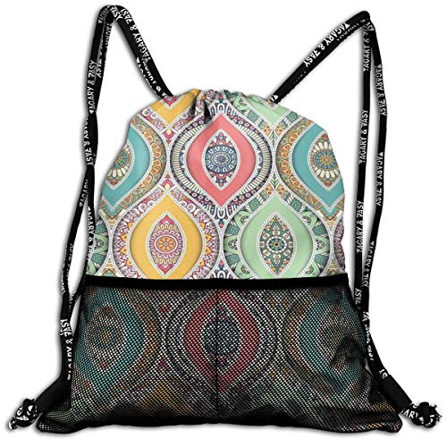 AZXGGV Drawstring Backpack Rucksack Shoulder Bags Gym Bag Sport Bag,Ethnic Ornamental Arabian Middle Eastern Ottoman Persian Bohemian Antique Motif