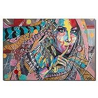 インドの女の子プリント装飾絵画現代抽象女性ポートレートグラフィティアート壁の装飾キャンバス絵画ウォールアートホームおよびオフィス装飾用の写真-非フレーム,60×90cm