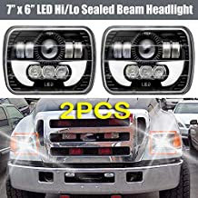 Pair 7x6 Inch LED Headlights Bulb with DRL Retangular Sealed Beam Square Headlamp For Ford Super Duty Truck F550 F600 F650 F700 F750 - H6014/H6052/H6054/6054 with 3 Years Guarantee