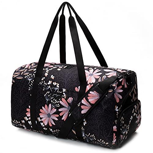 Jadyn Bolso grande para mujer de 22 pulgadas con bolsillo para zapatos, Negro Floral, L, Weekender