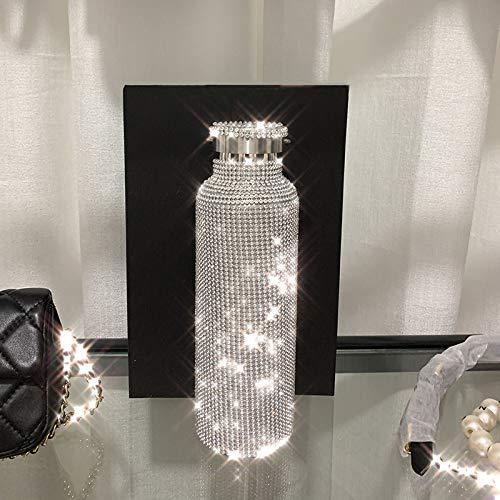 JJTXSQSMQM Thermosflasche Glitzernde High-End-Thermoskanne Bling Strass Edelstahl Thermoskanne Diamantisolierung Silber Wasserflasche mit Deckel