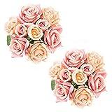 Lawei - Ramo de Rosas Artificiales de Seda para Novia, 9 Cabezas, 2 Unidades