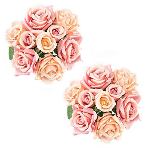 Lawei - Ramo de Rosas Artificiales de Seda para Novia, 9 Cabezas, 2 Un