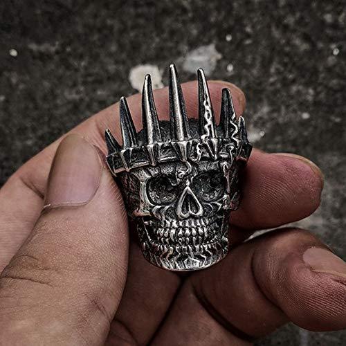 SDFASD Para Hombre Nobleza Clásica Silver King Crown Skull 316L Anillos De Motorista De Acero Inoxidable Punk Fasion Regalo De Joyería para Hombres 8