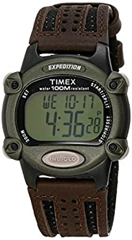 Timex Men s T48042 Expedition Full-Size Digital CAT Brown Nylon/Leather Strap Watch