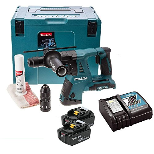 Makita DHR264ZJ 18V Twin SDS+ Hammer Drill with 2 x 5Ah Batteries, Charger & Case