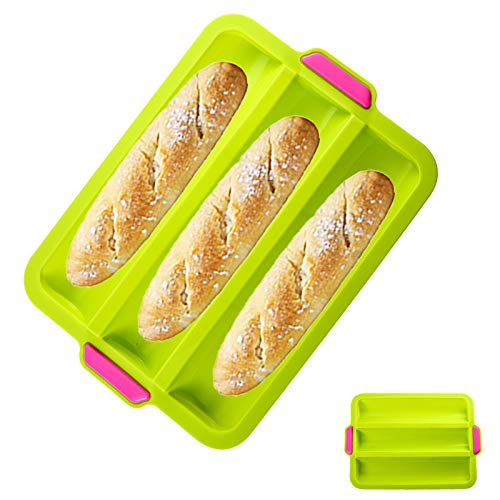 Silicone Mini Baguette Baking Tray, Nonstick Baguette Pan, Silicone Baby Sandwich Forms, BPA Free, Hot Dog Bread Molds, Hamburger Molds, Muffin Pan Kitchen Baking Tools (L, Green)
