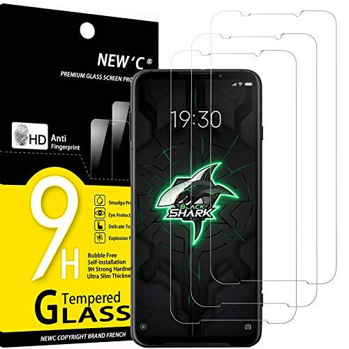 NEW'C 3 Stück, Schutzfolie Panzerglas für Xiaomi Black Shark 3, Frei von Kratzern, 9H Festigkeit, HD Bildschirmschutzfolie, 0.33mm Ultra-klar, Bildschirmschutzfolie