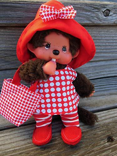 Puppenkleidung handmade für MONCHICHI Gr. 20 cm MONCHHICHI Kleid + Hut + Täschchen + Schuhe Bekleidung Punkte rot NEU