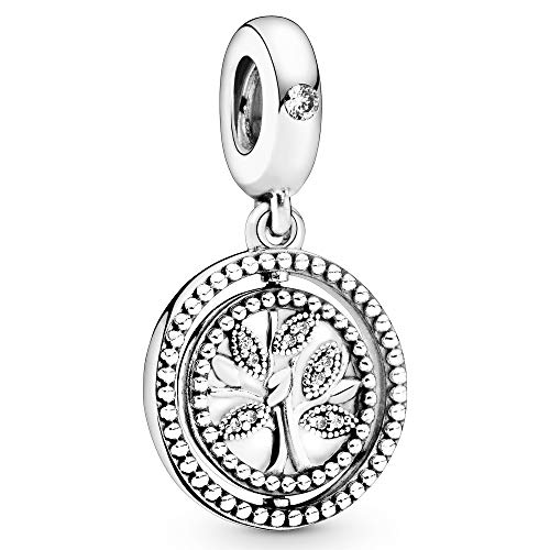 Pandora Jewelry Spinning Family Tree Dangle Cubic Zirconia Charm in Sterling Silver