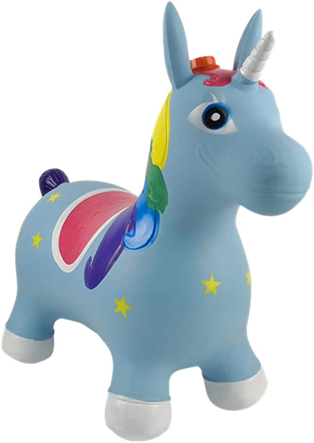 Mr.LQ Inflatable Horse Hopper Rocking Horse bluee Bouncer with Hand Pump Inflatable Space Hopper Ride on Bouncy Animal